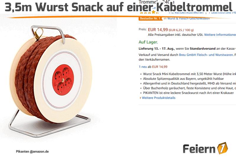 3,5m Wurst Snack auf einer Kabeltrommel